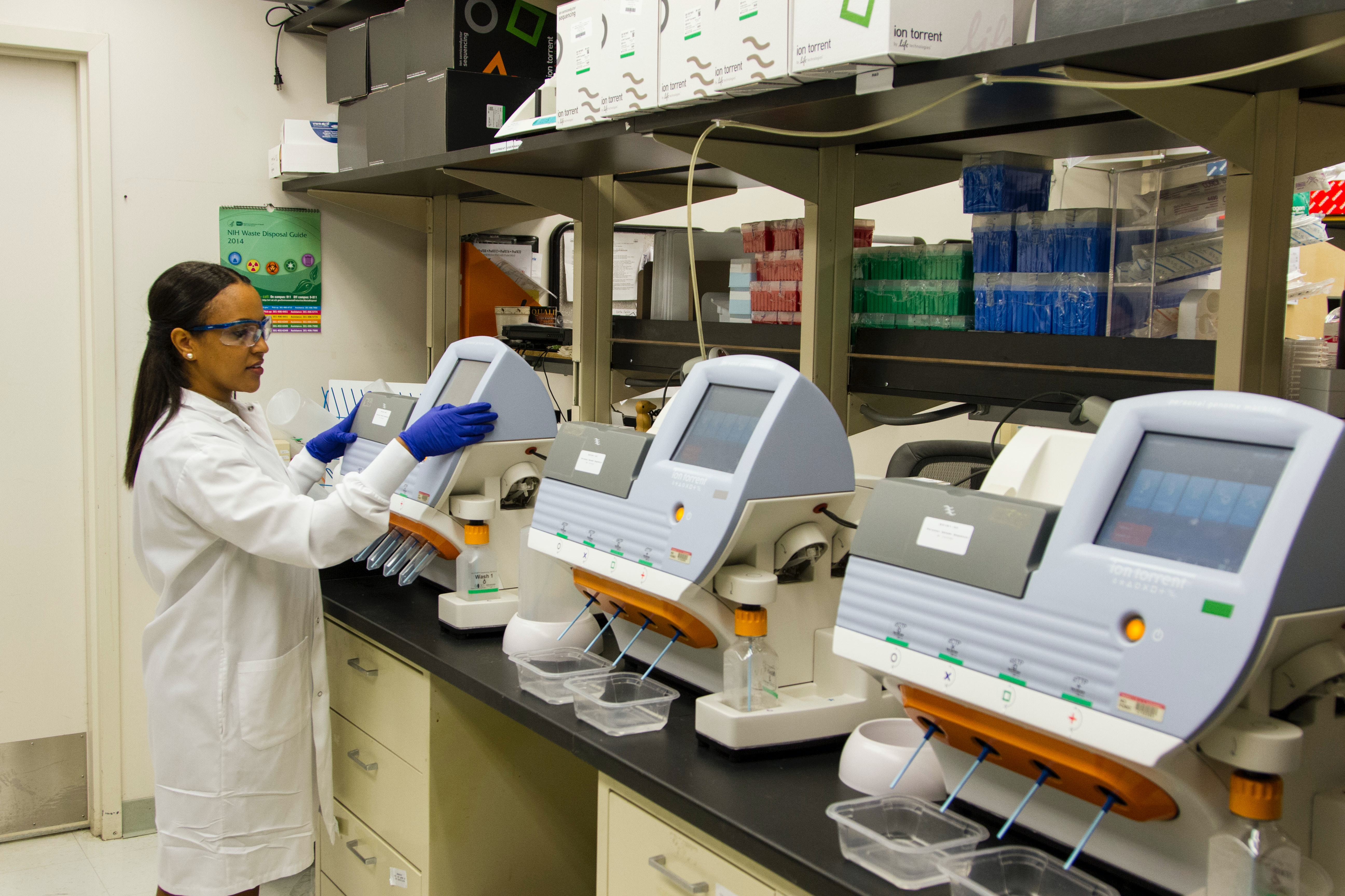 A technician validates genetic variants identified through whole-exome sequencing at the Cancer Genomics Research Laboratory, part of the National Cancer Institute's Division of Cancer Epidemiology and Genetics (DCEG).